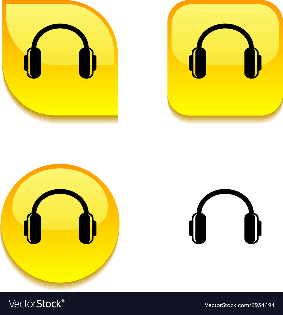 Headphones glossy button vector