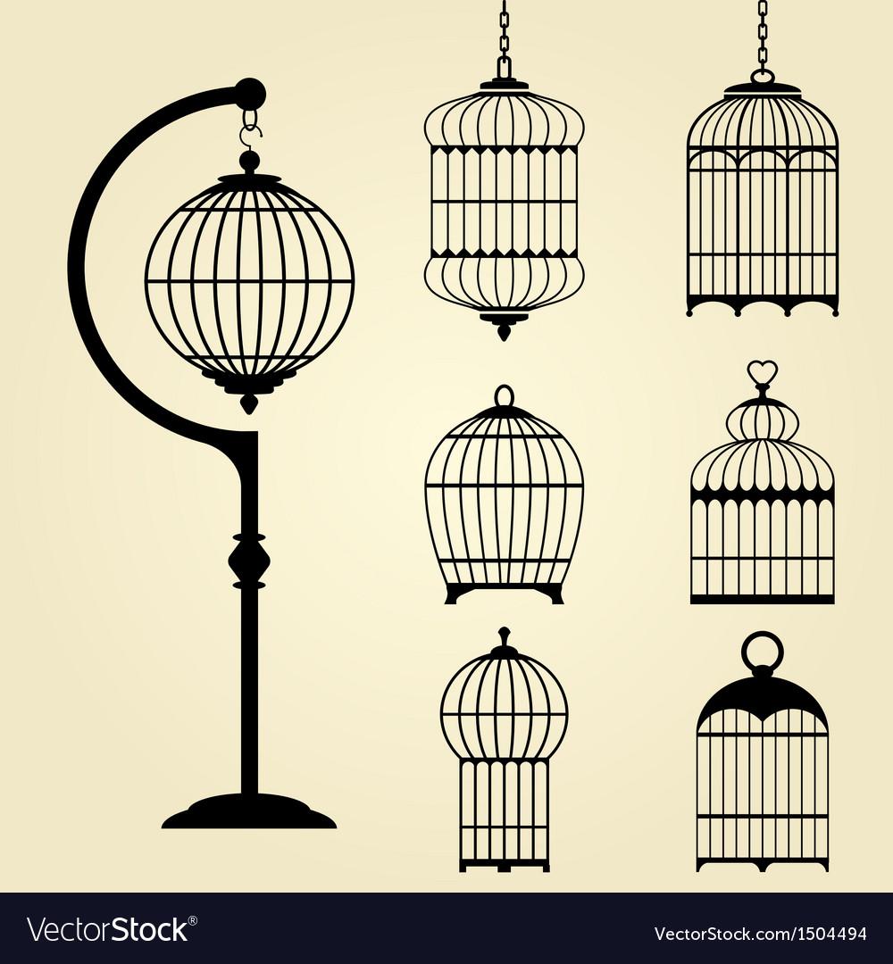 Set of vintage bird cages vector
