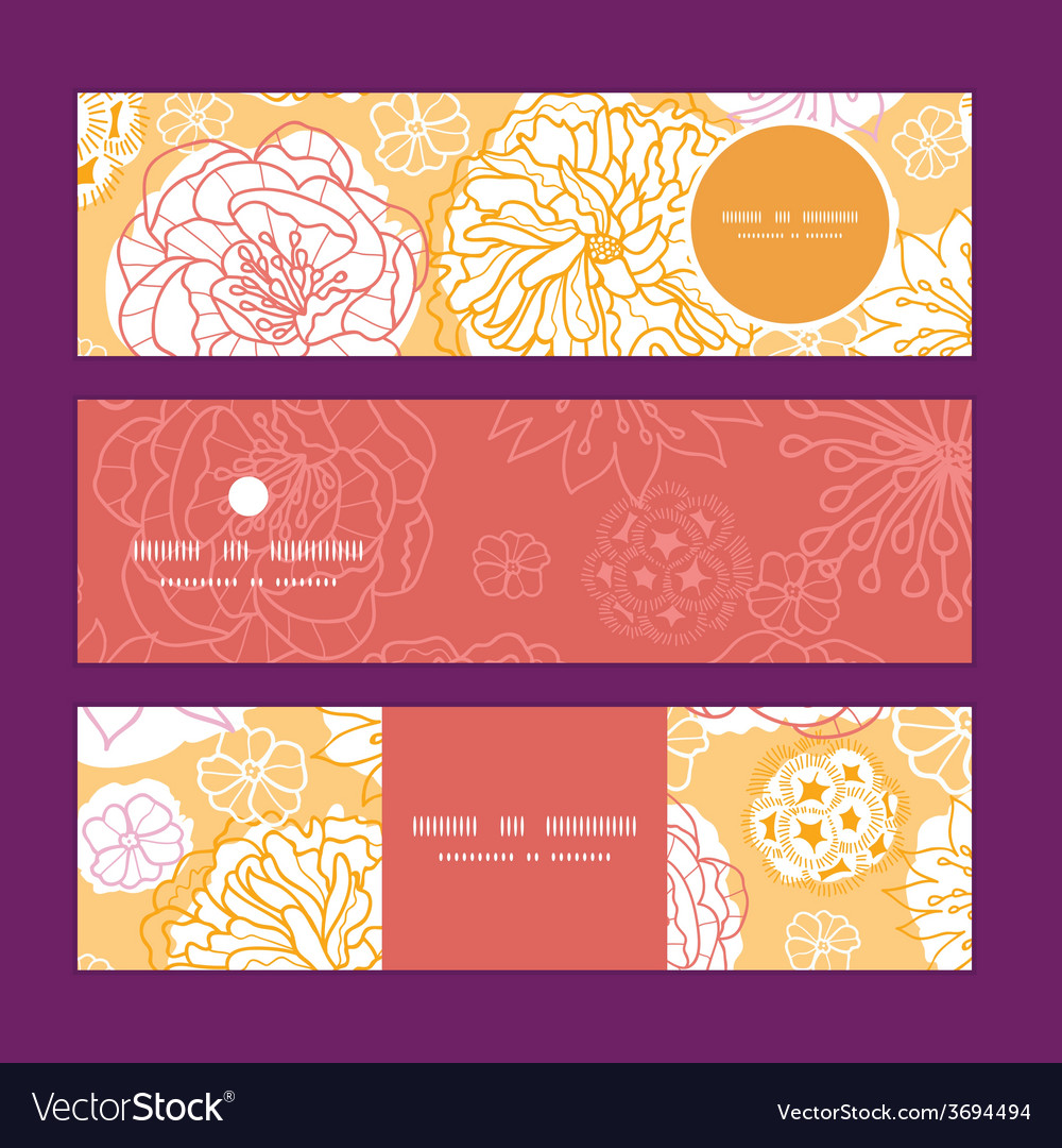 Warm day flowers horizontal banners set vector