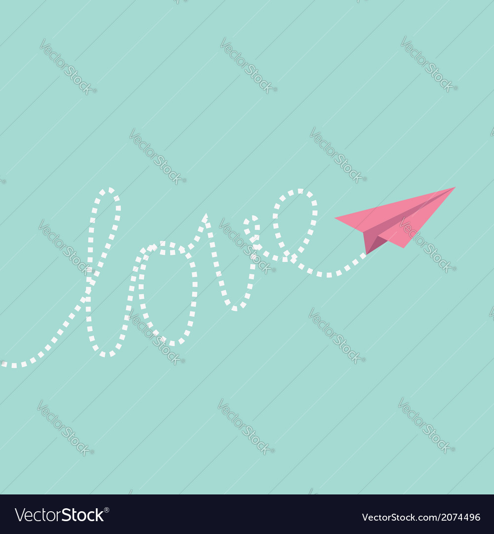 Origami paper plane in the sky love card vector