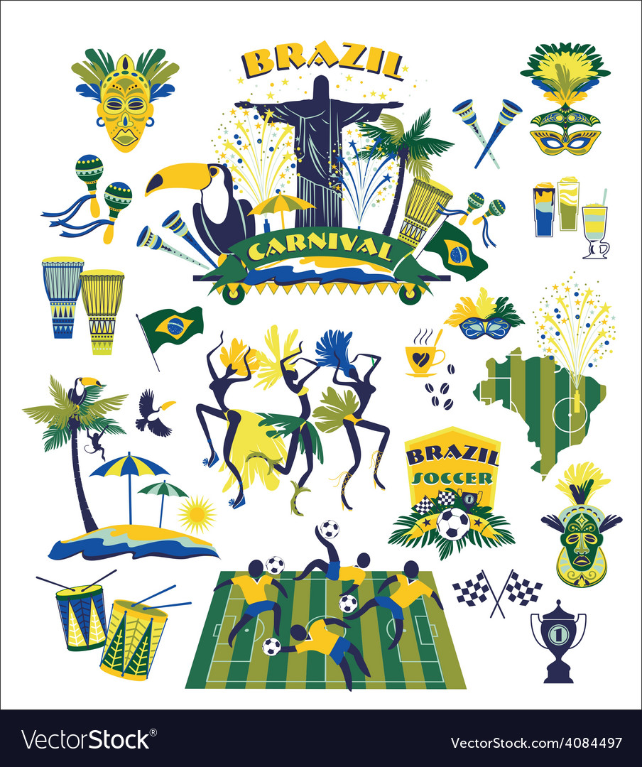 Traditional brazilian items vector