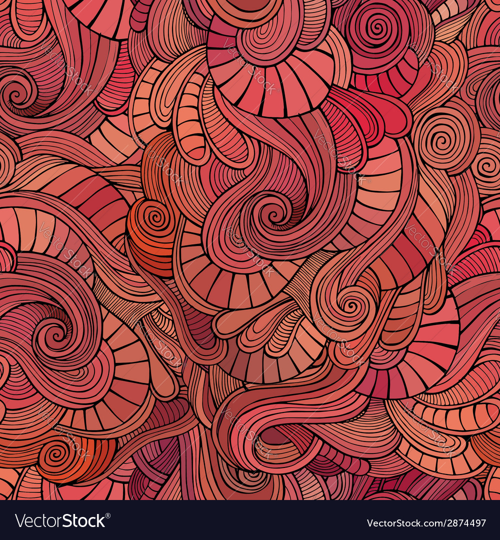 Waves decorative doodles seamless pattern vector