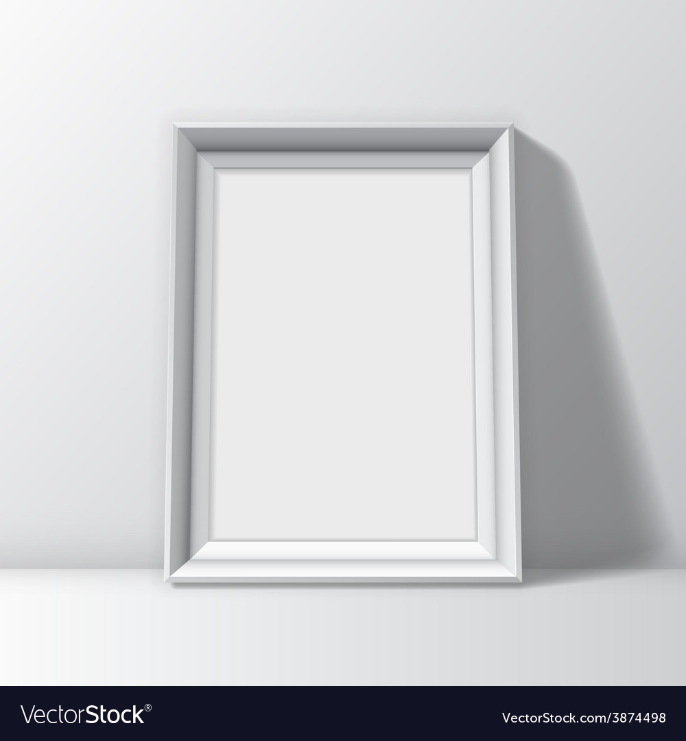 Blank white picture frame vector