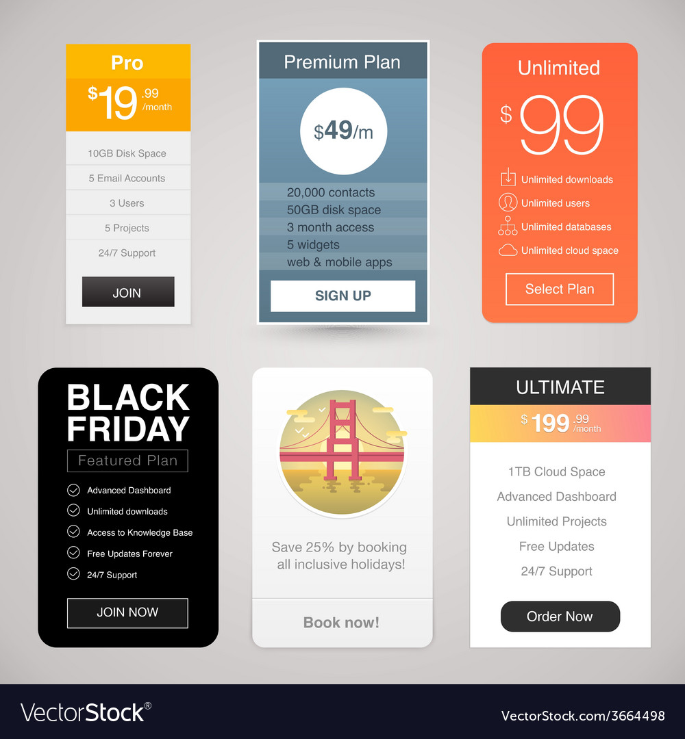 Six pricing tables for web vector