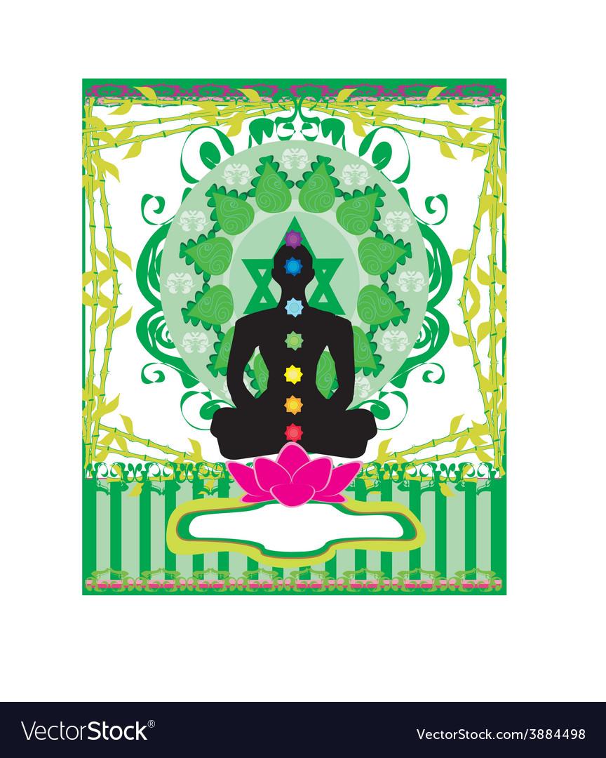 Yoga lotus pose padmasana with chakra points vector