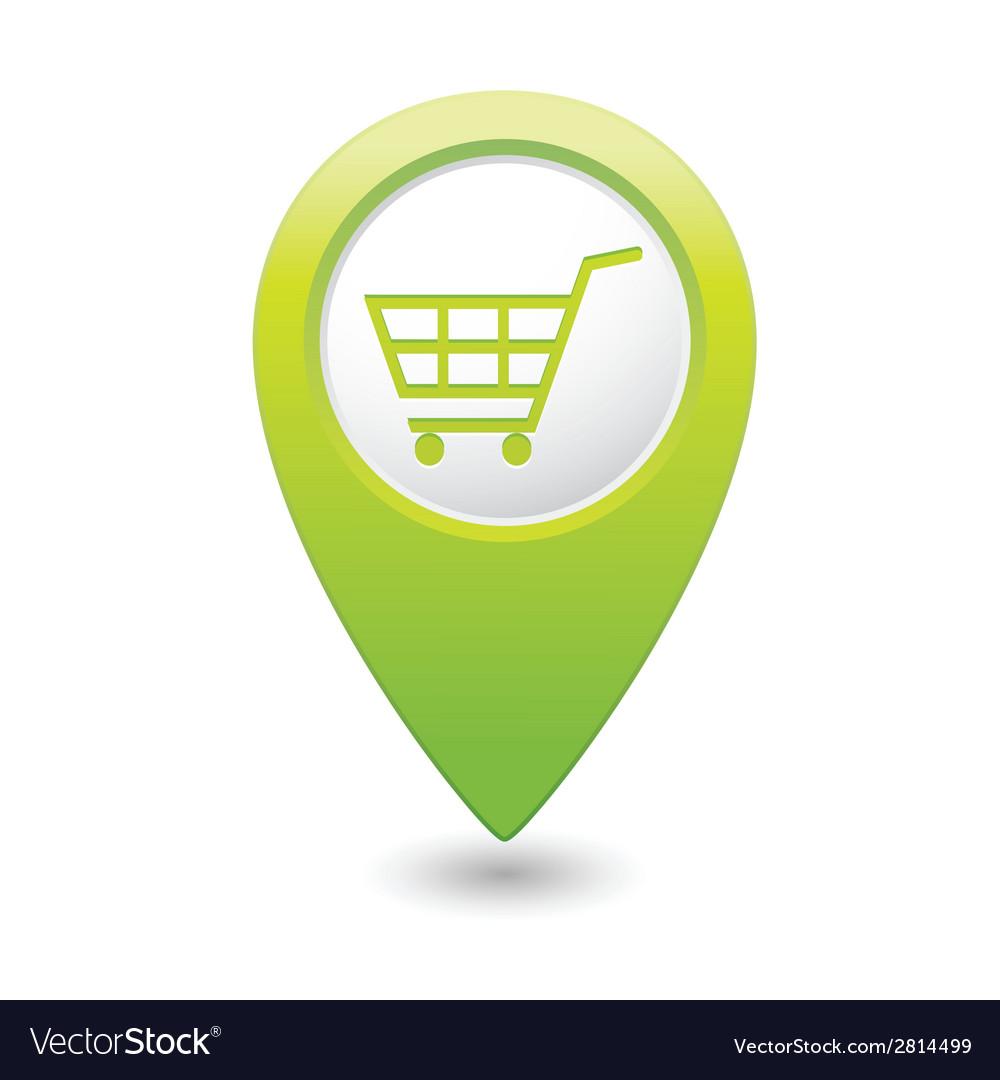 Shop basket icon green pointer vector