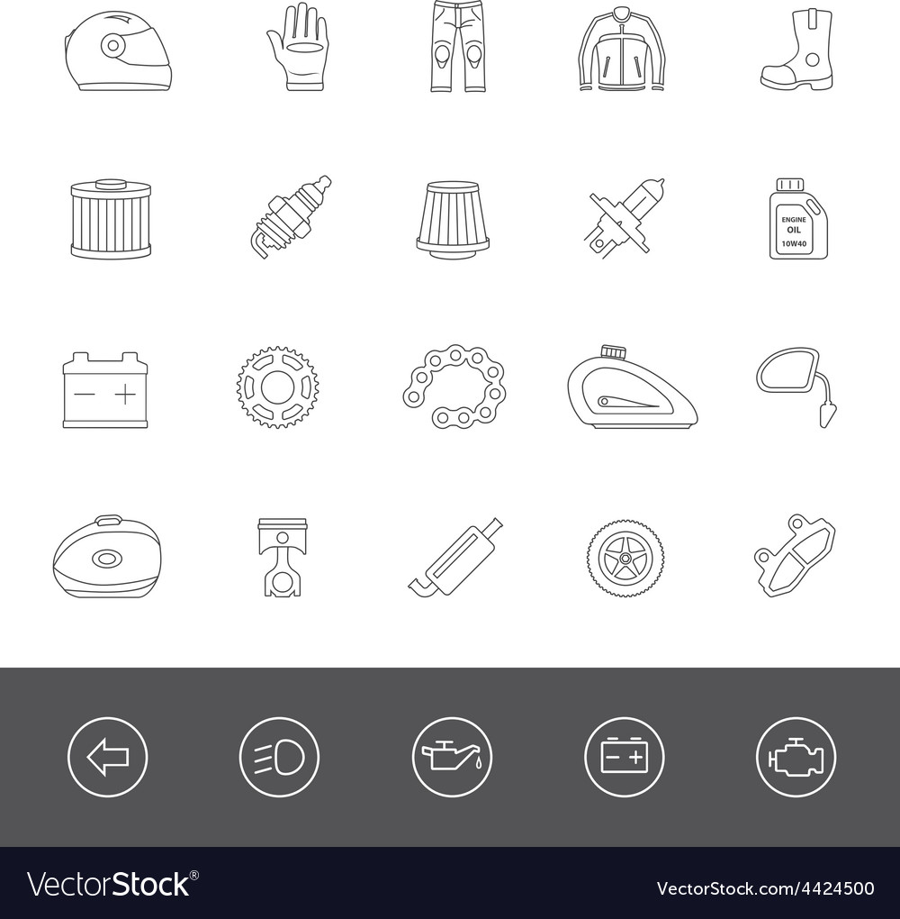 Line icons motorcycle accessories vector