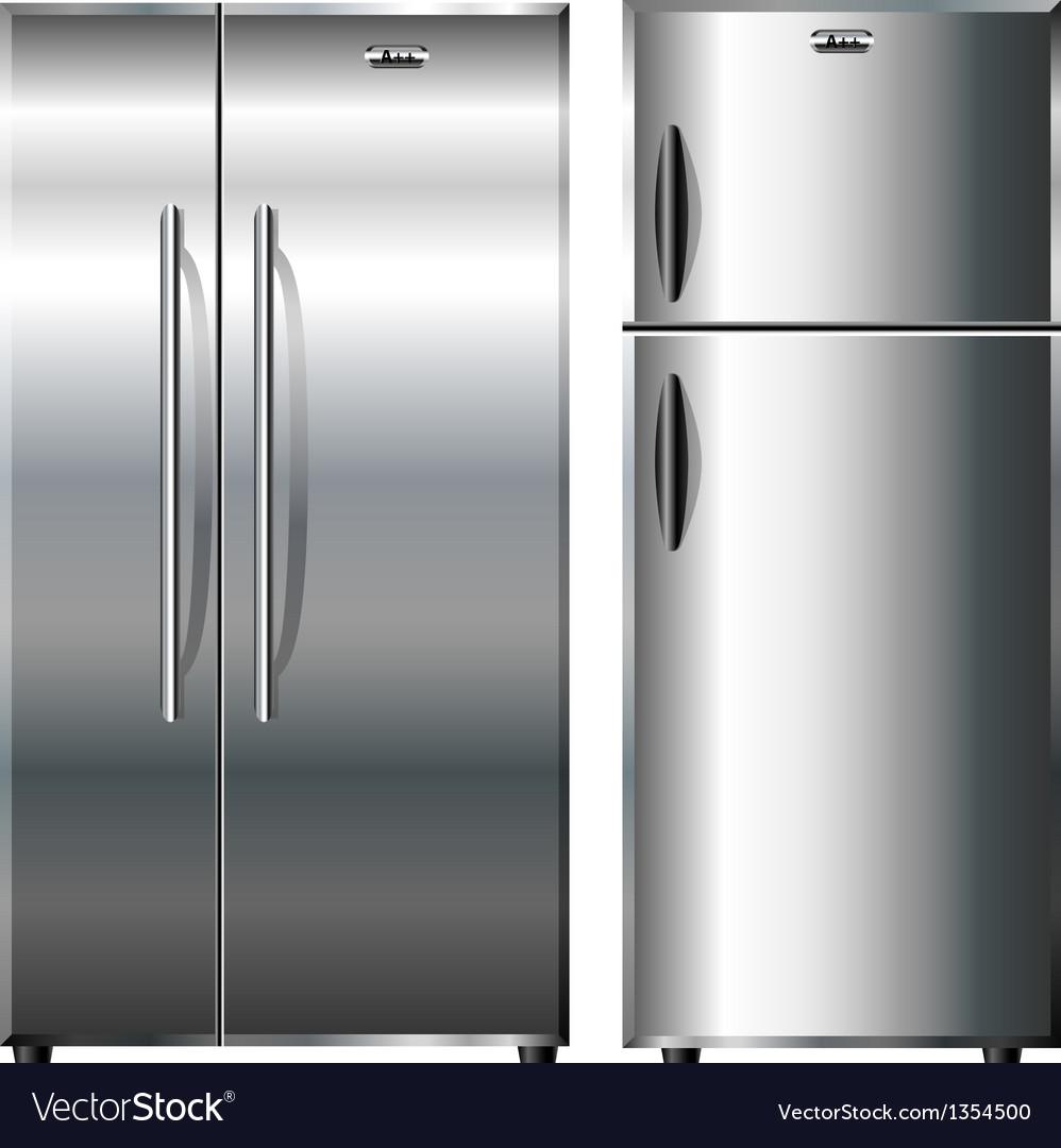Metallic refrigerators vector