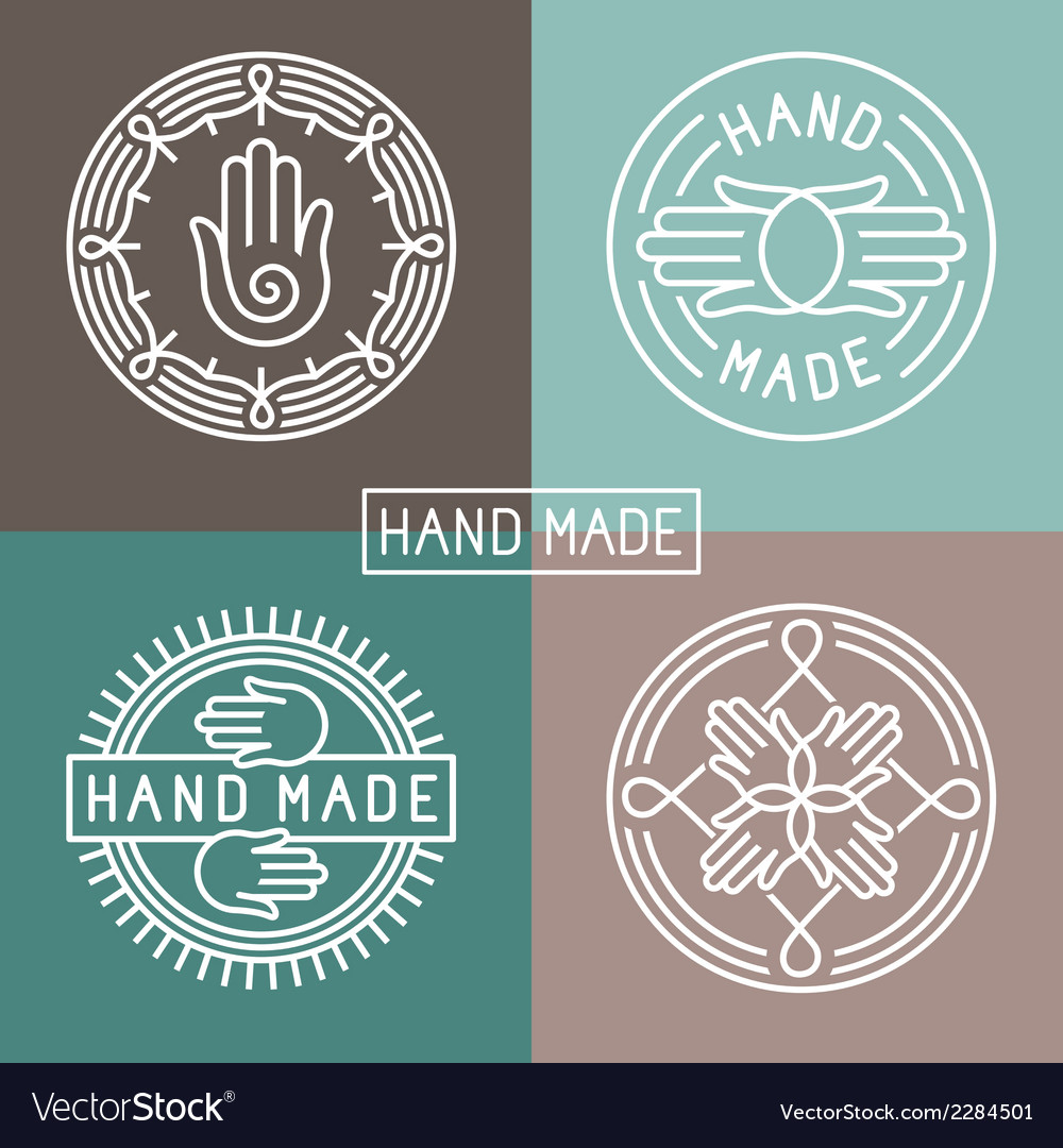 Hand made label in outline trendy style vector
