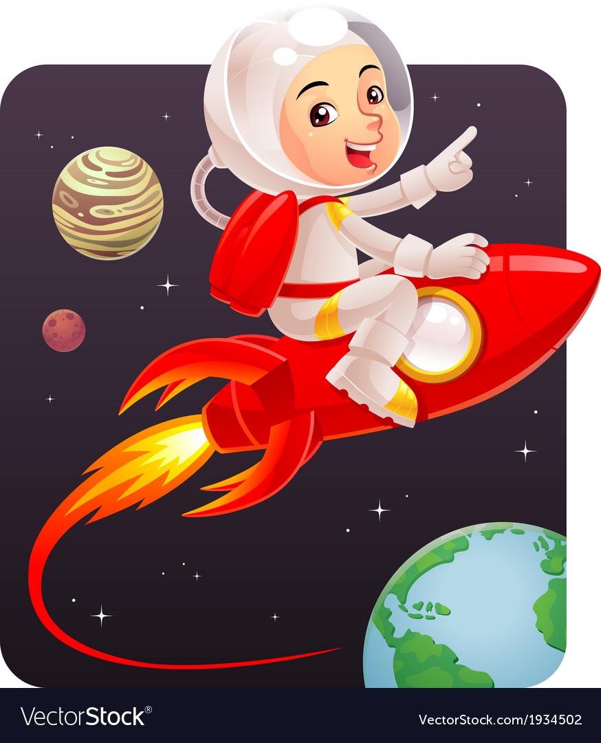 Astronaut kid vector