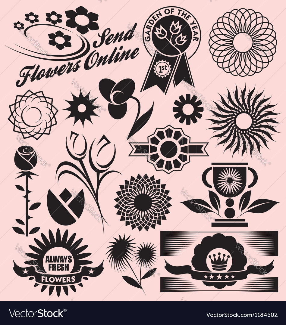 Set of flower symbols icons and signs vector