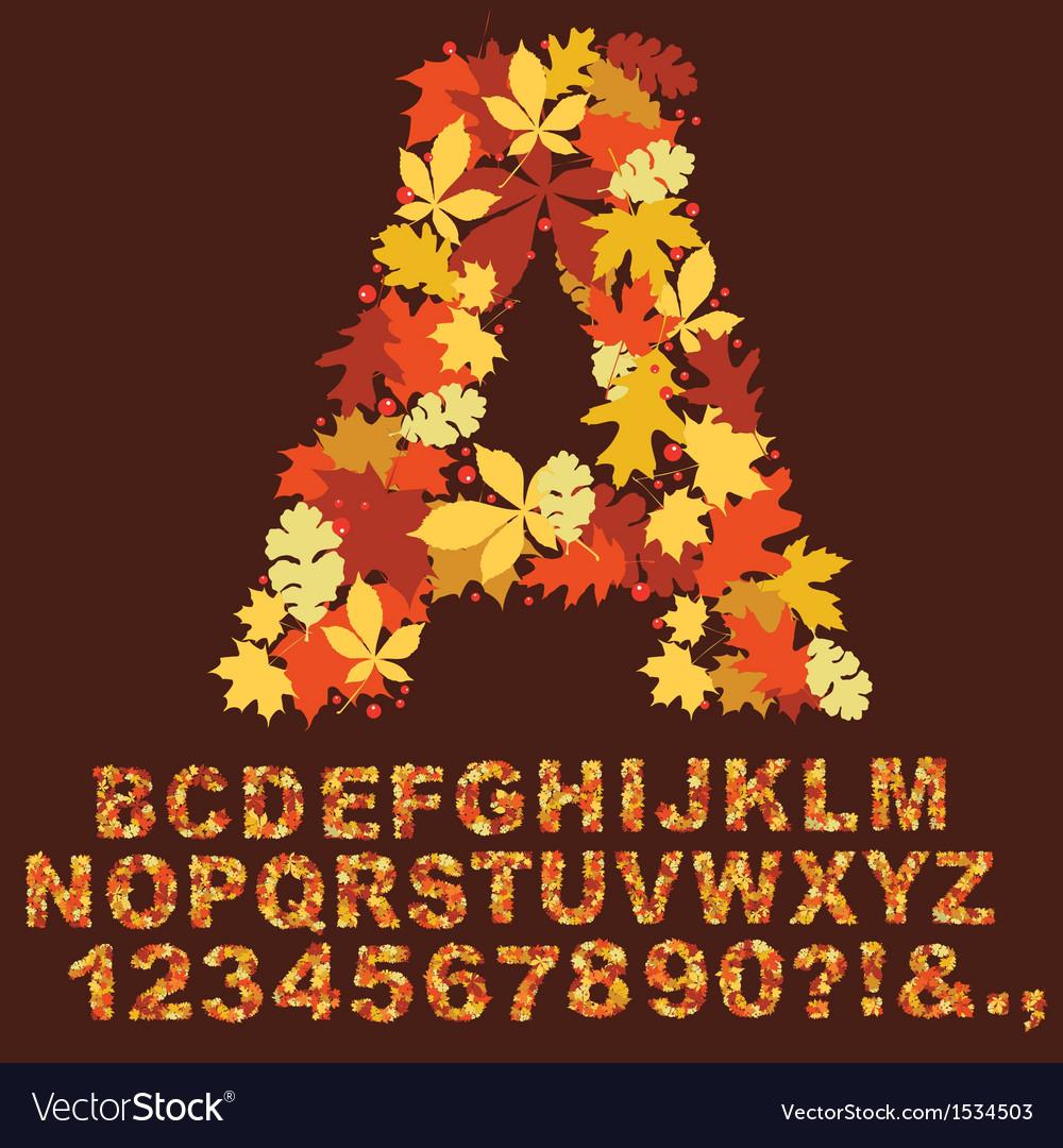 Autumn alphabet design vector