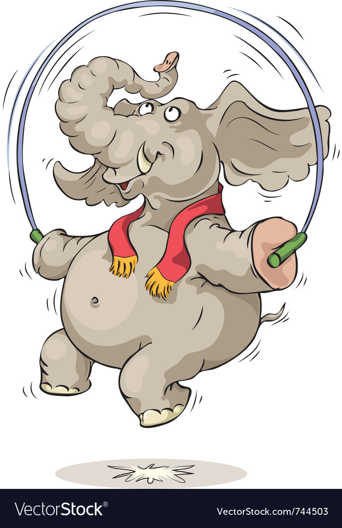 Jumping elephant vector