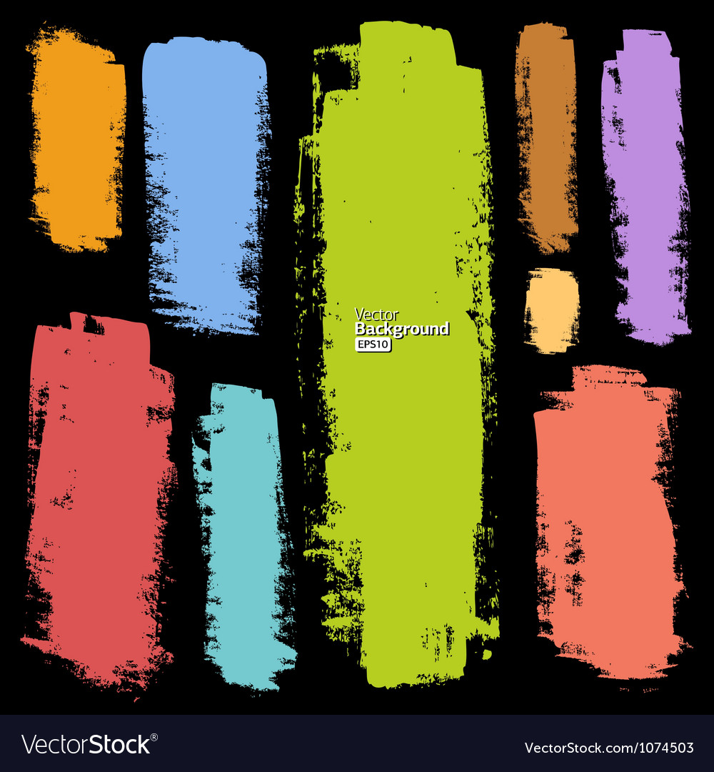 Set of grunge colorful brush strokes vector