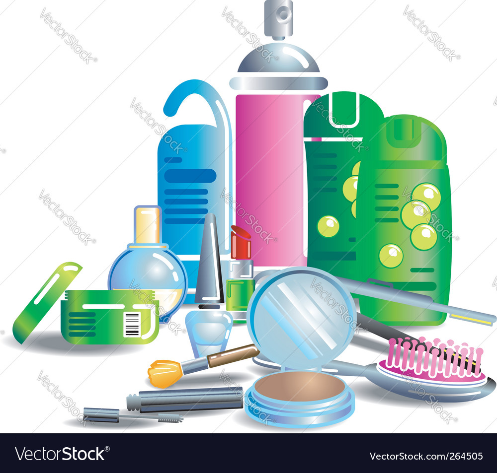 Beauty cosmetic products vector
