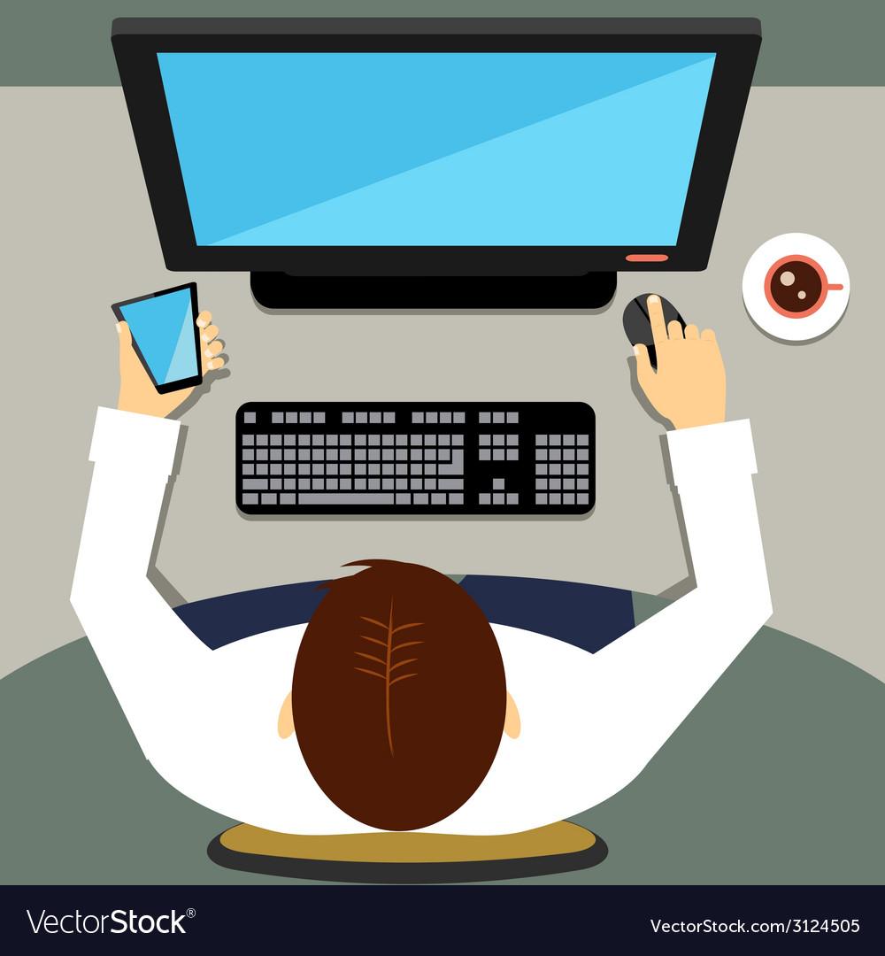 Man working on desktop computer with blank screen vector