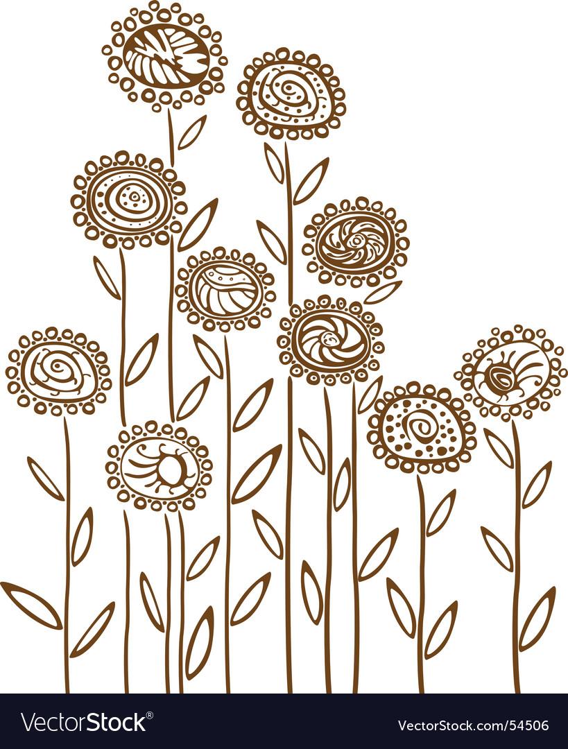 Floral background sketch vector