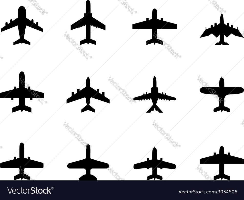 Icons of airplanes vector
