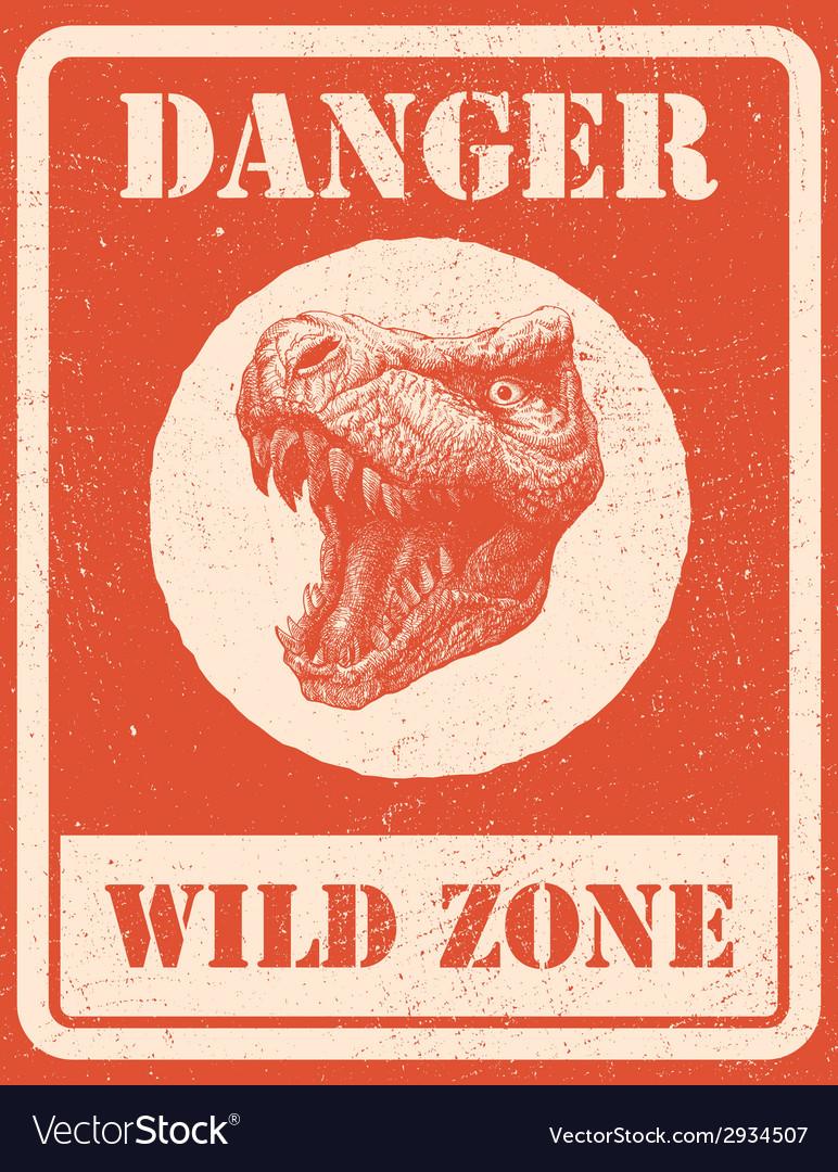 Warning sign danger signal with dinosaur eps 8 vector