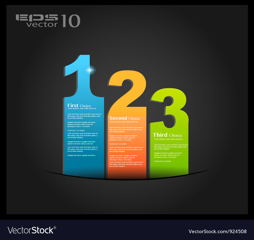 1 2 3 option bars vector