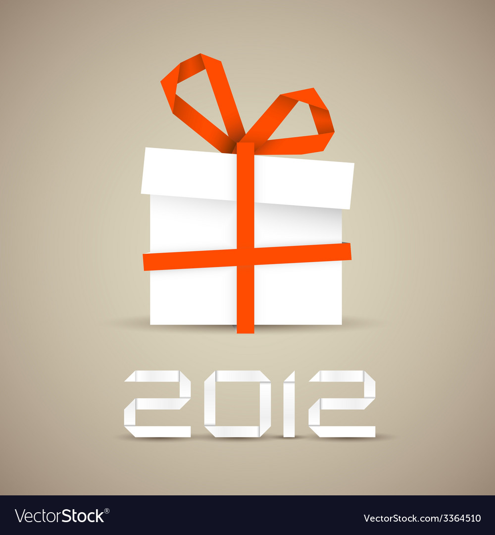 Simple christmas gift made from paper vector