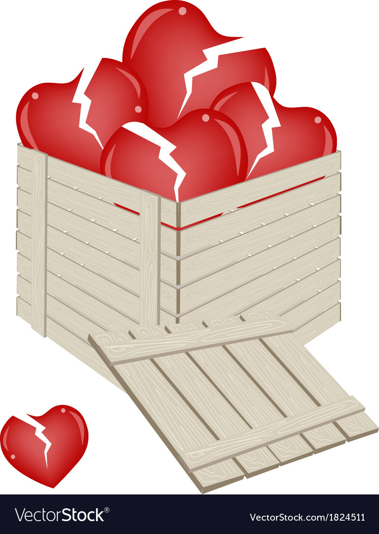 Broken hearts in a wooden cargo box vector
