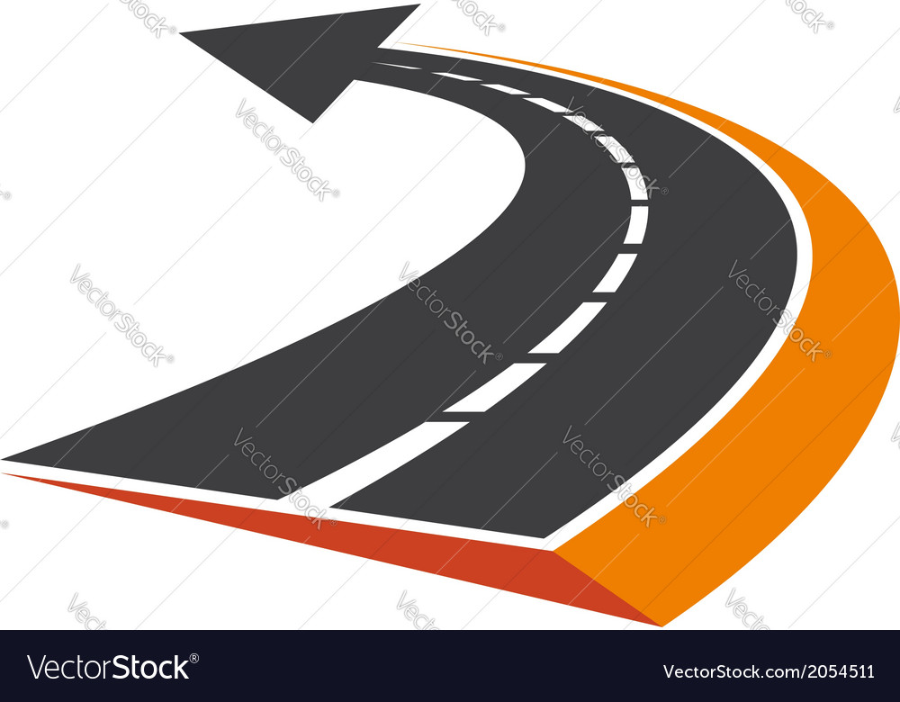 Curved tarred road with an arrow pointer vector