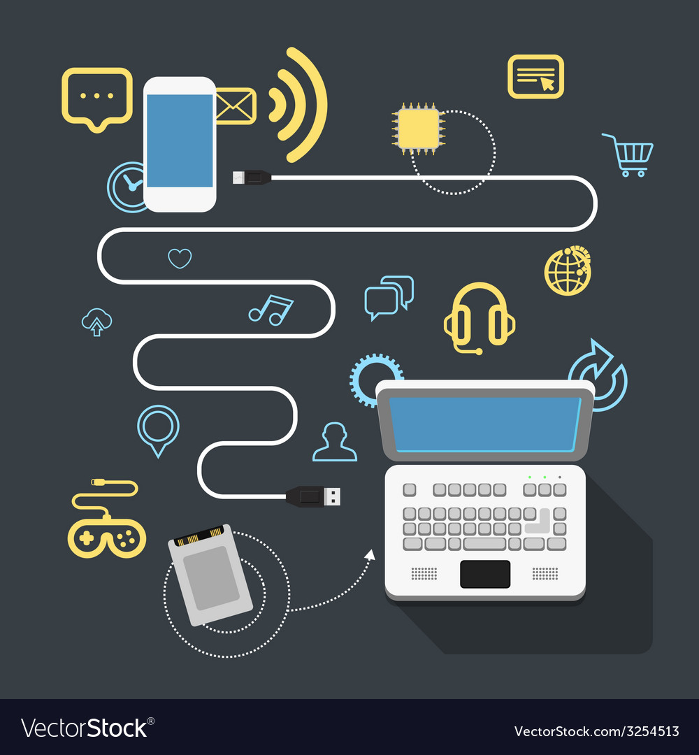Different modern devices connection vector