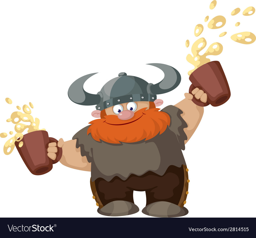 Viking with two beer vector