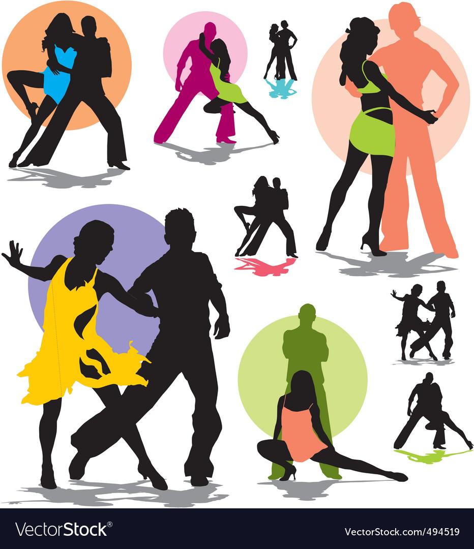 Set dance stars silhouettes vector