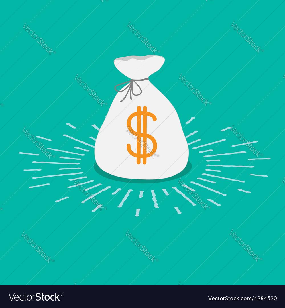 Shining money bag icon dollar sign flat design vector