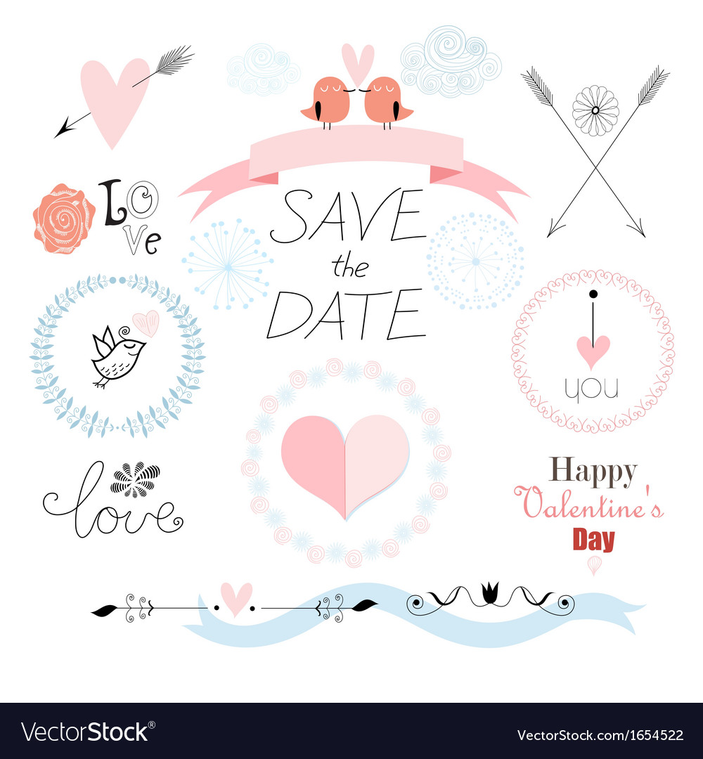 Romantic set with different elements for the holid vector