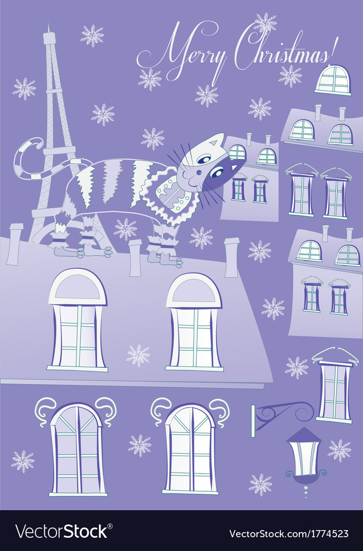 Blue cat on a roof of winter paris vector