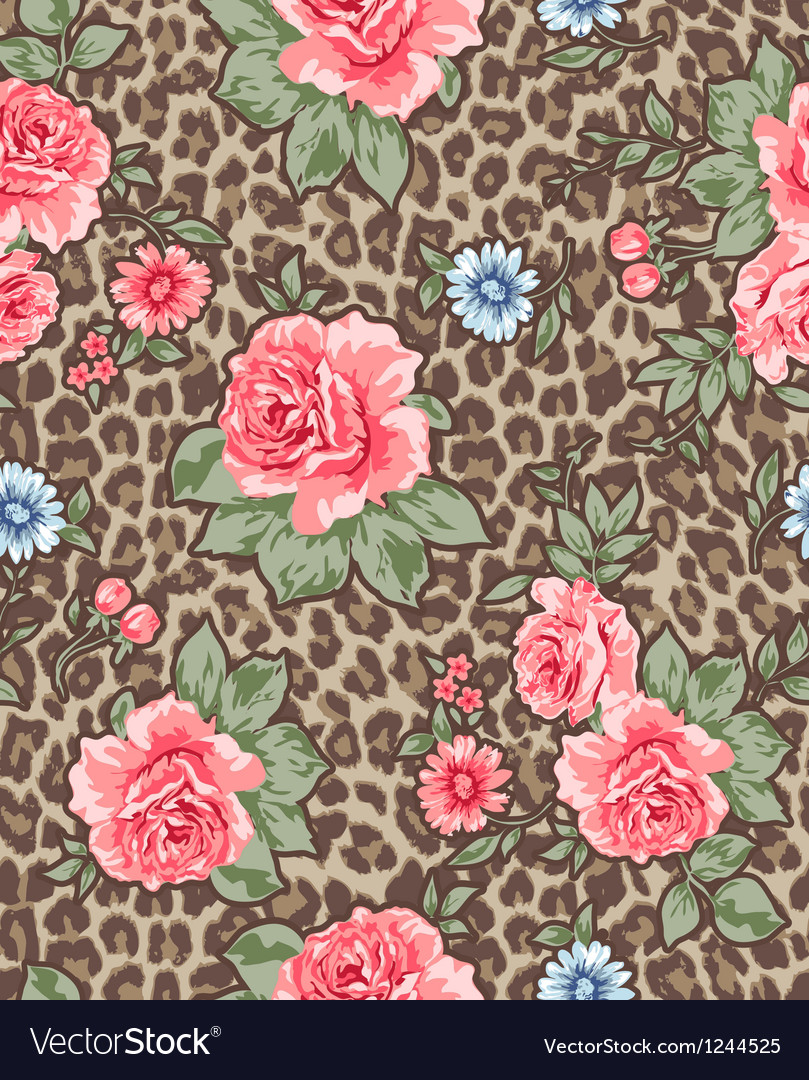 Seamless roses over animal background vector