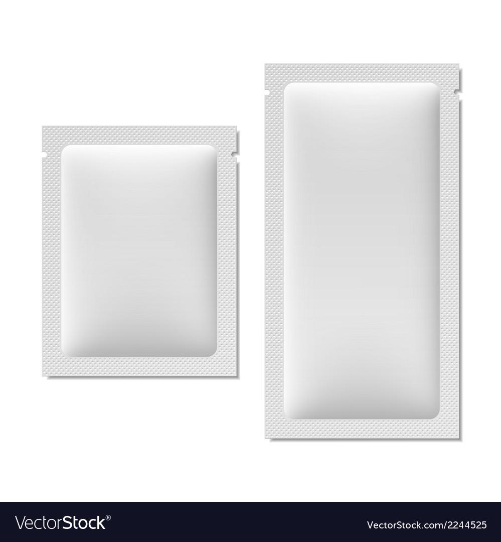 White blank sachet packaging vector
