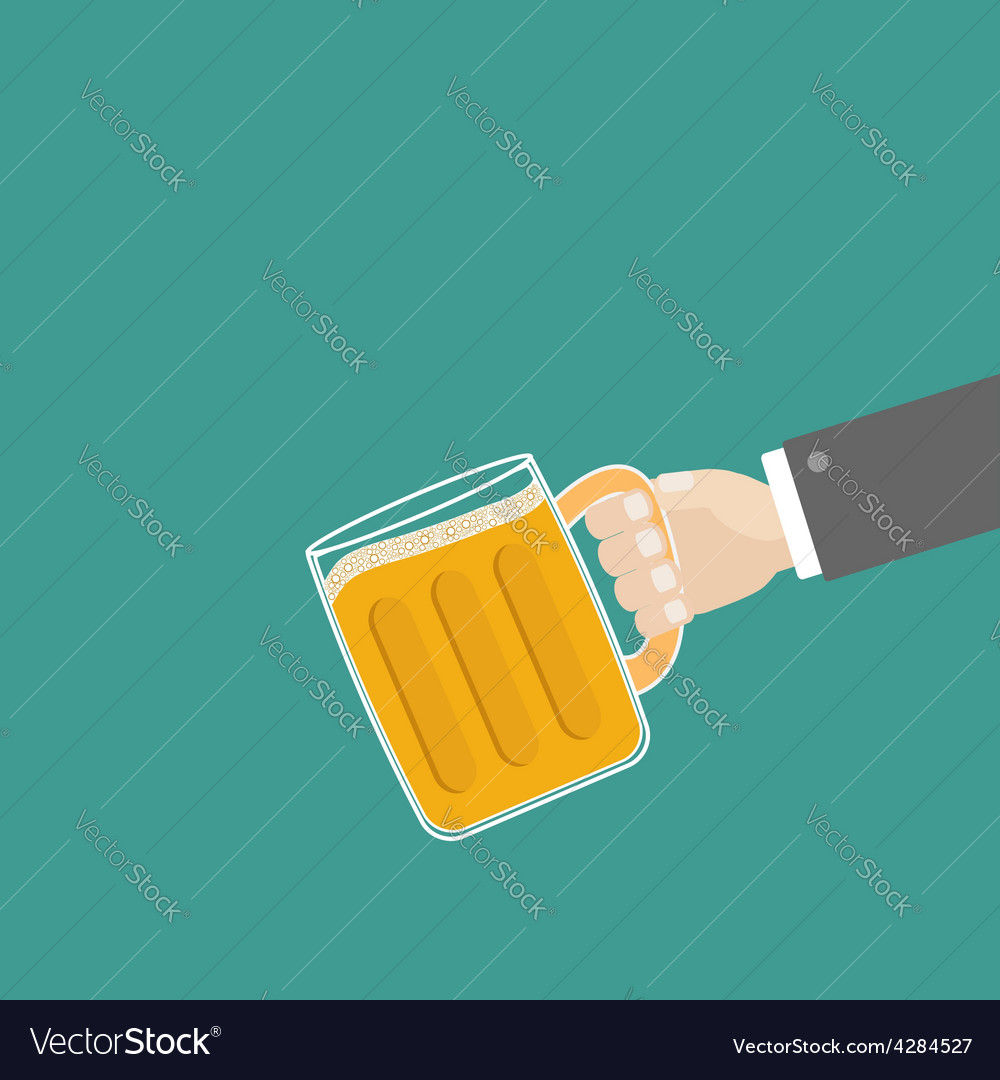 Hand and clink beer glasses mug with foam cap vector