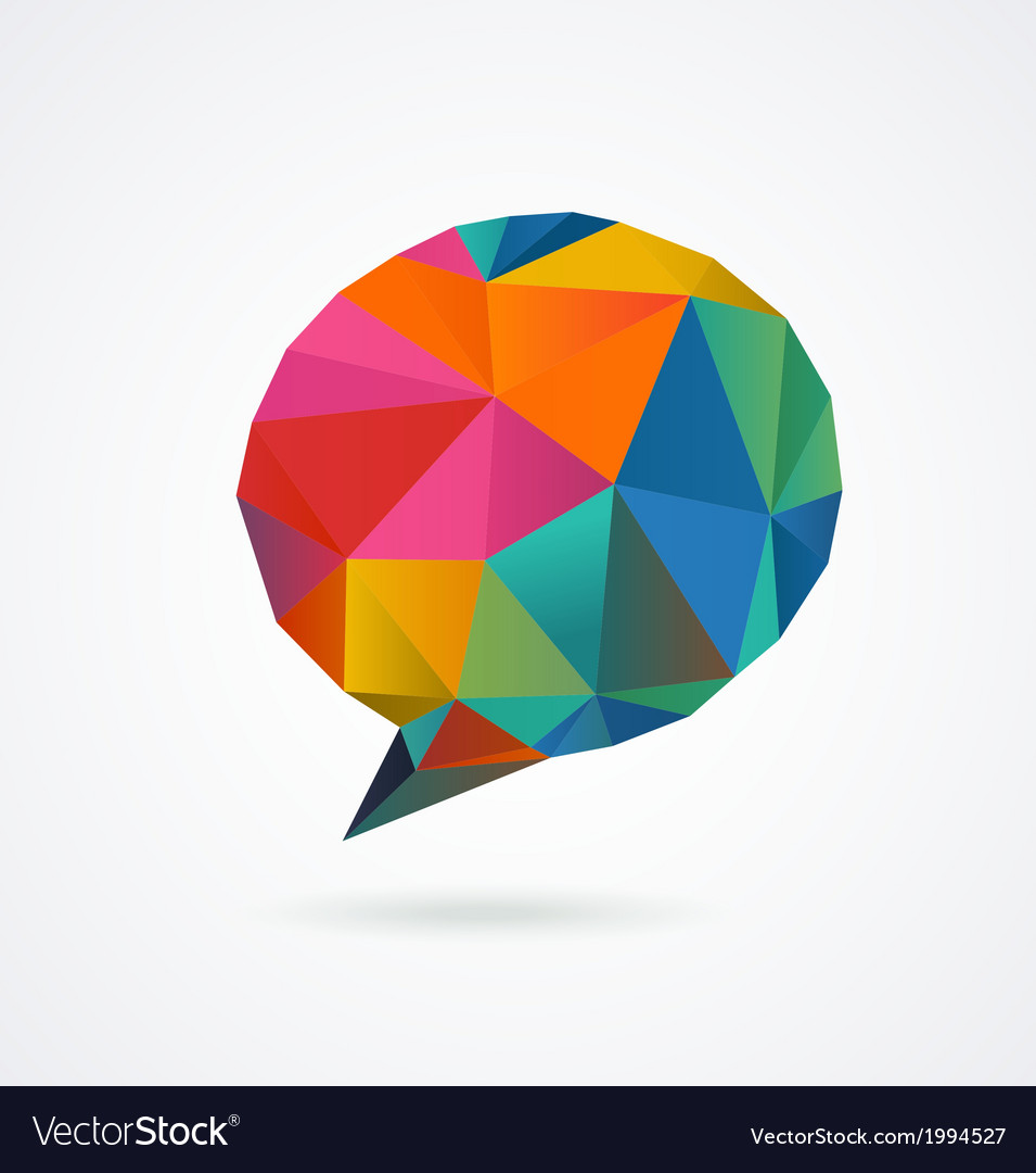 Polygonal geometric 3d speech bubble vector
