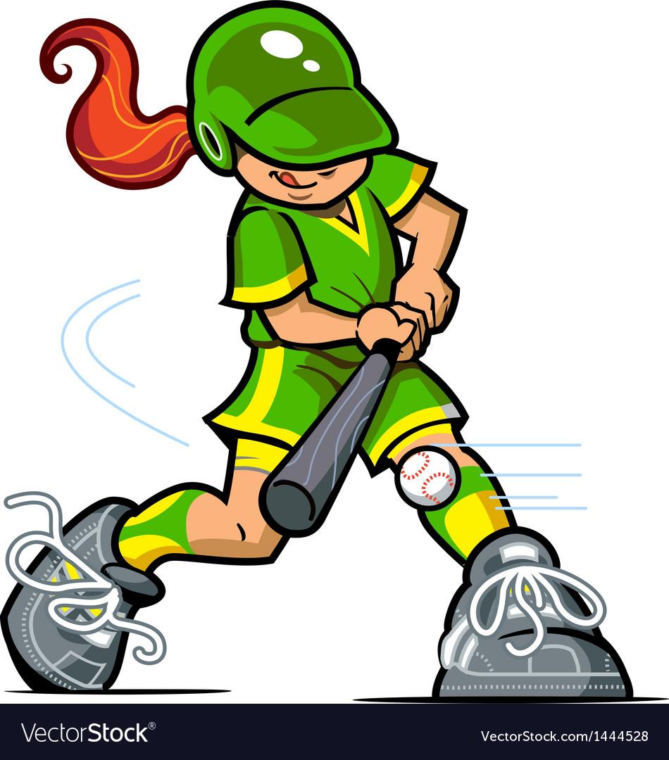 Girl baseball batter vector