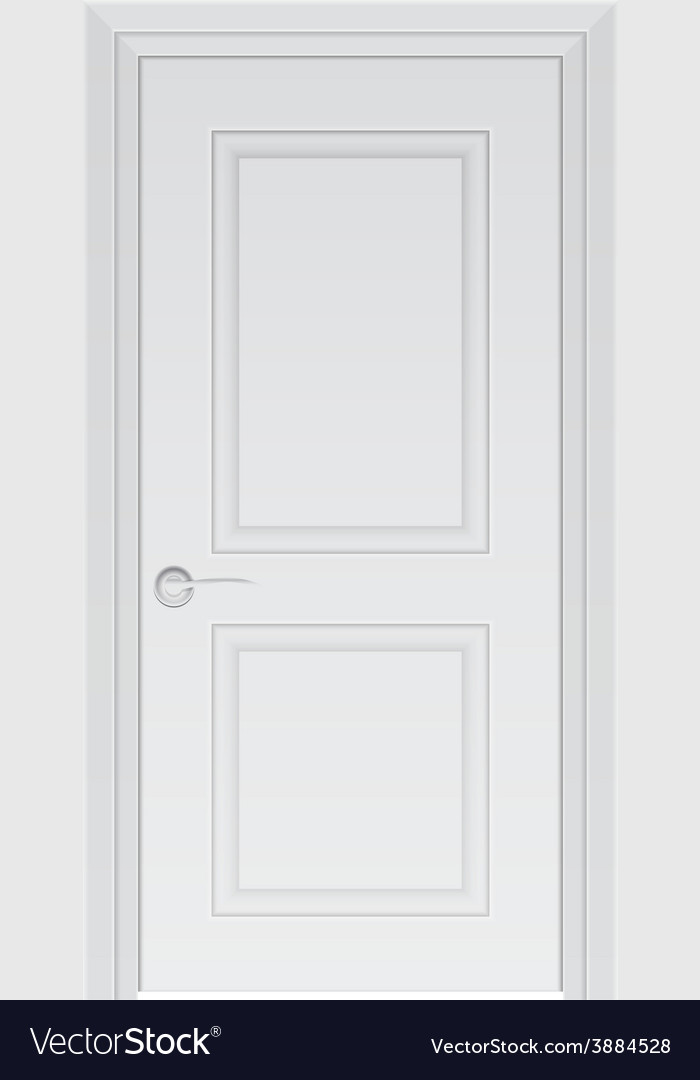 White door isolated on white photo-realistic vector
