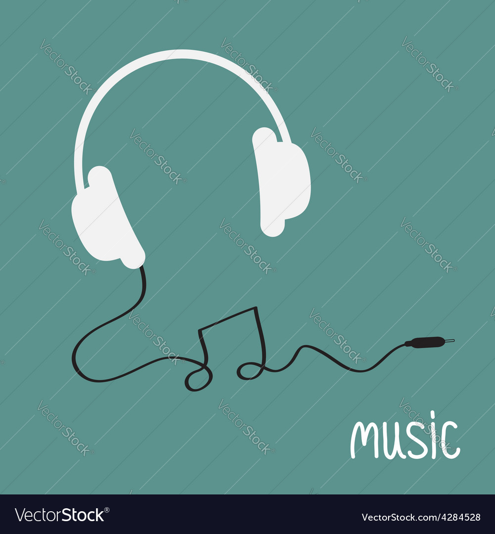 White headphones with black cord in shape of note vector
