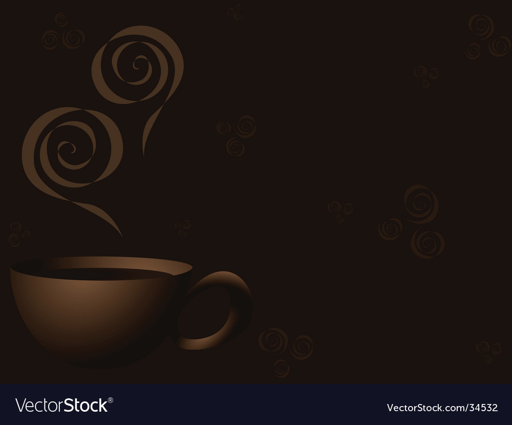 Steaming coffee background vector