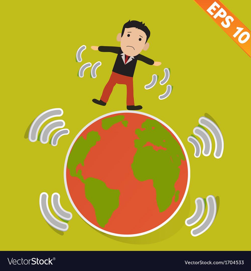 Cartoon businessman stand with earthquake - vector