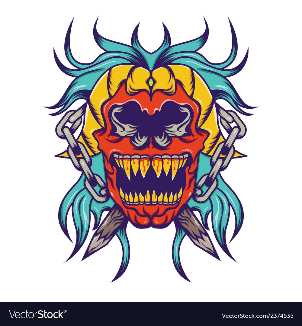 Red skull with bloe hair tatoo design vector