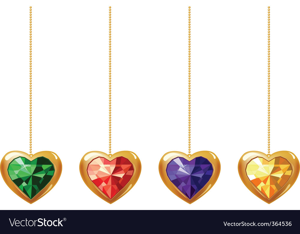 Hearts with gems vector
