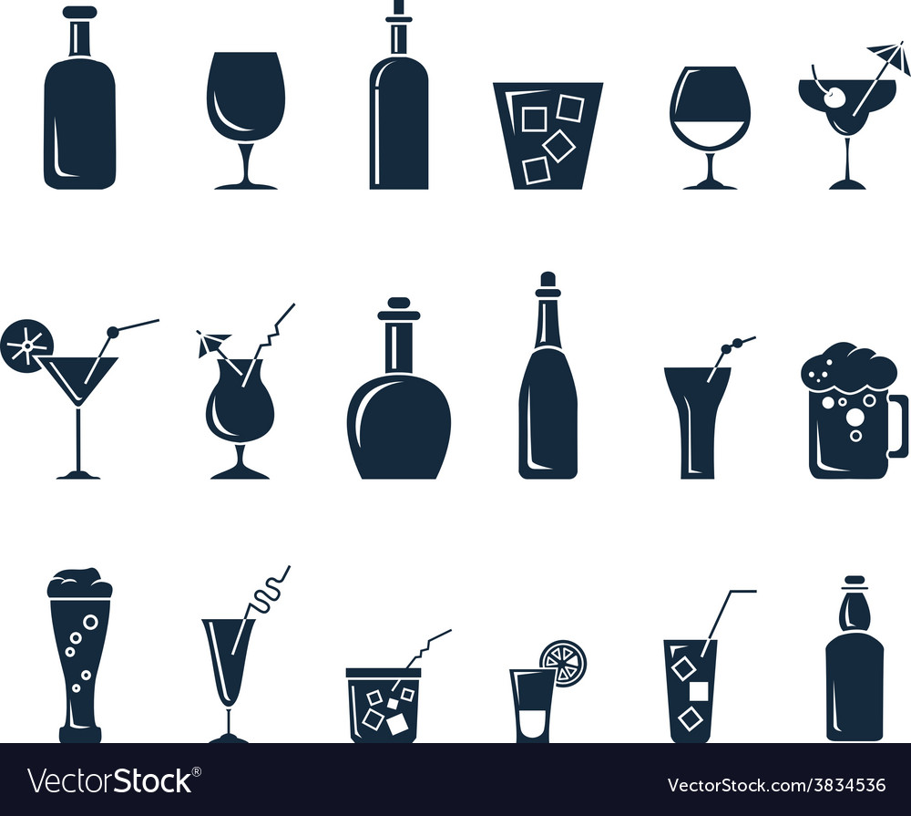 Set of black flat icons about beverage vector