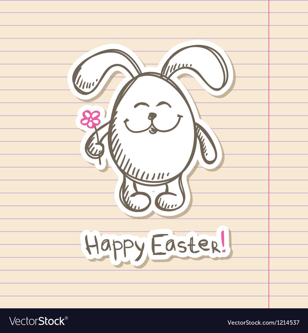 Easter bunny sticker vector