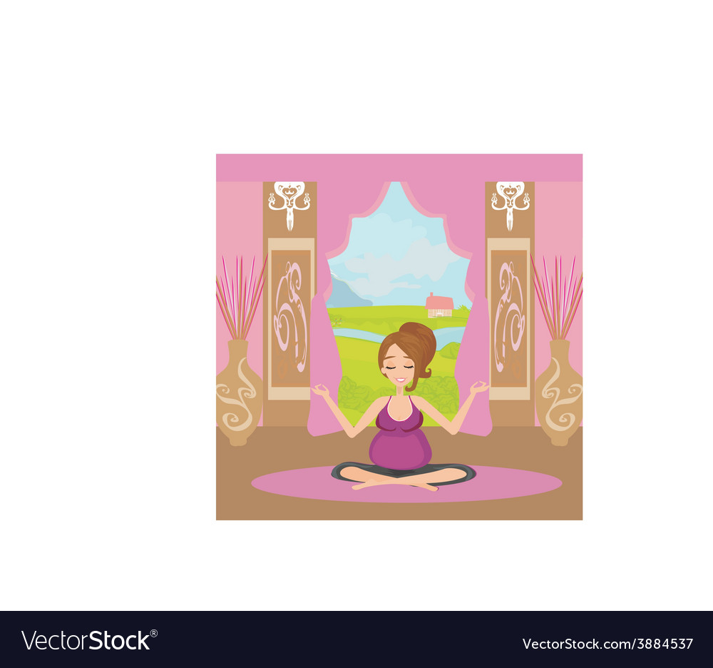 Yoga for pregnant woman vector