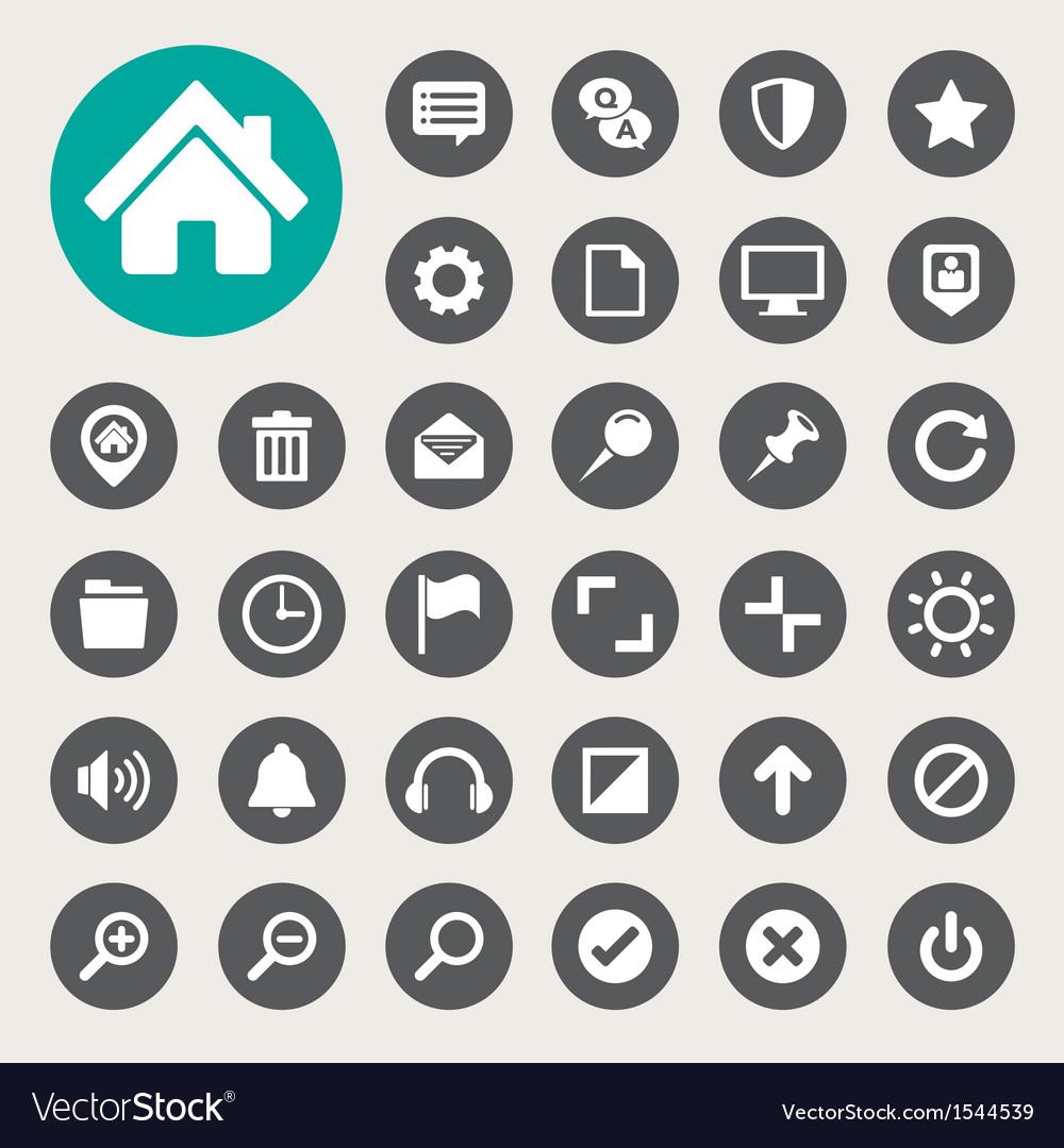 Computer menu icons set vector