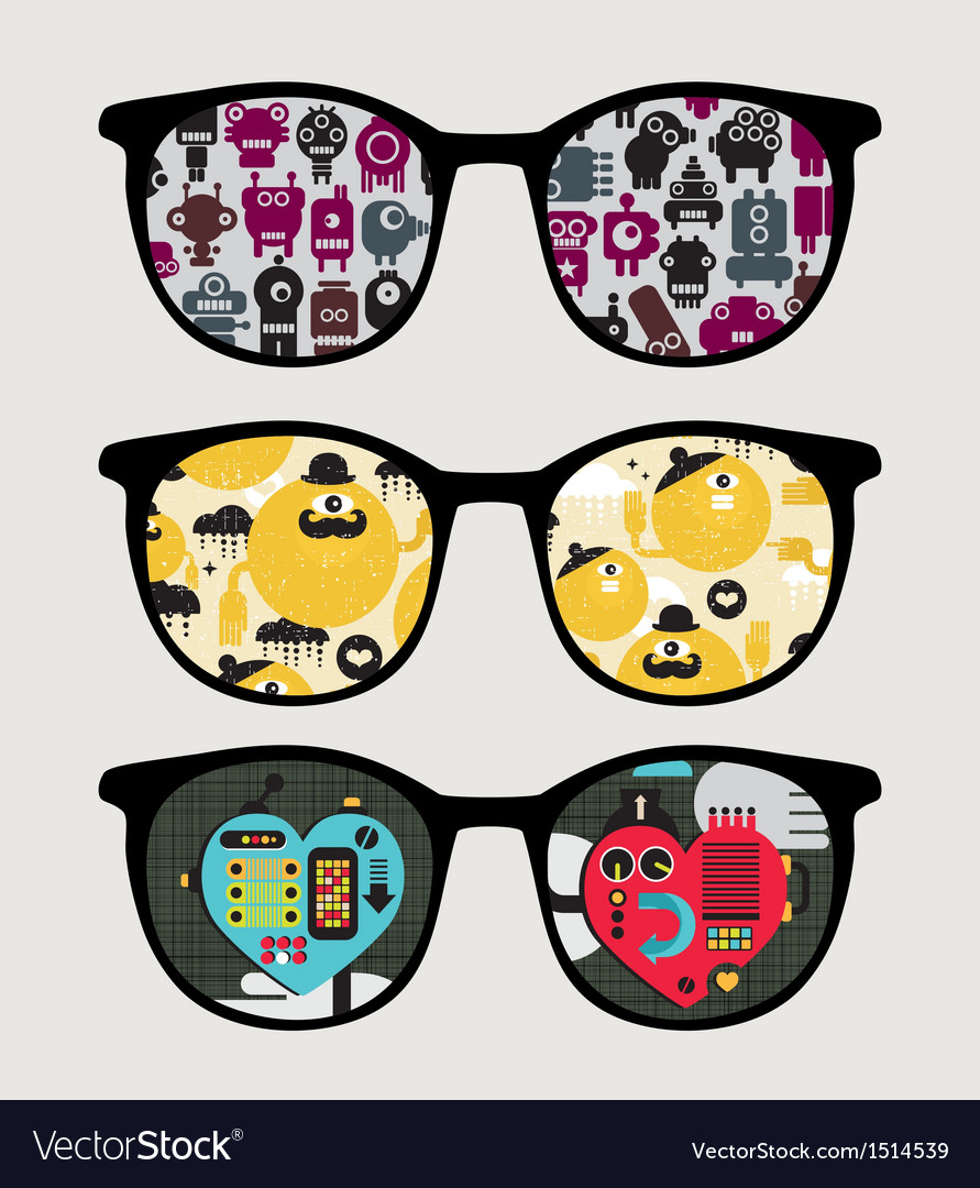 Retro sunglasses with mechanic reflection in it vector