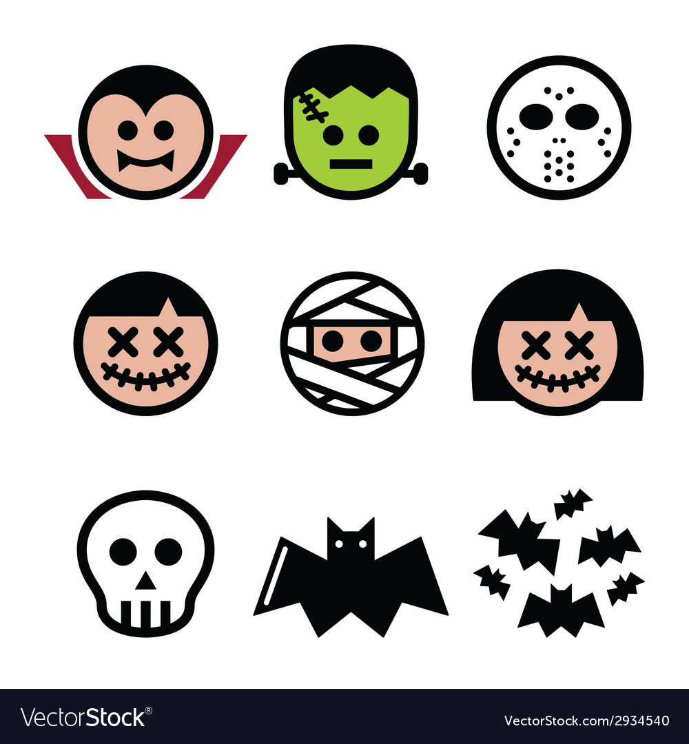 Halloween characters - dracula monster mummy ico vector
